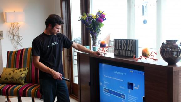 adam calibrating the living room tv